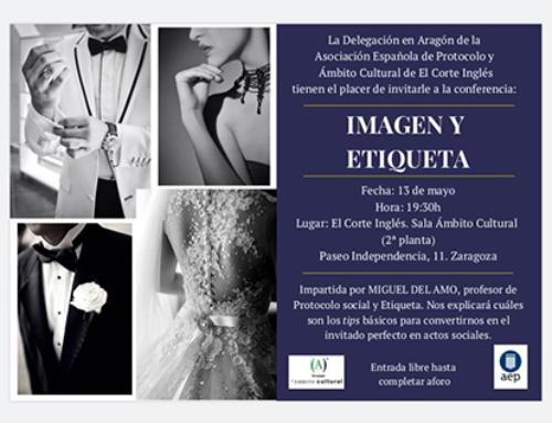 """Conferencia """"Imagen y etiqueta"""" a cargo de Miguel Del Amo, organizada por la Delegación de Aragón de la AEP y El Corte Inglés"""