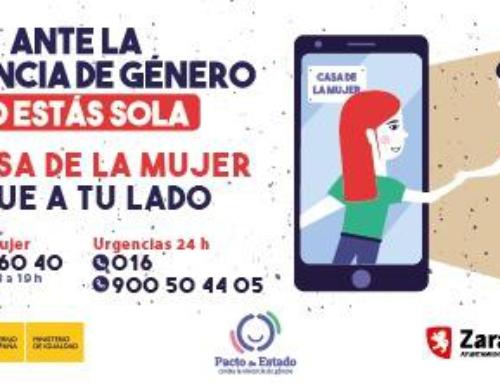 """El Ayuntamiento de Zaragoza lanza la campaña """"No estás sola"""" Dirigida a mujeres víctimas de violencia de género."""